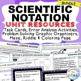 SCIENTIFIC NOTATION Bundle - Error Analysis, Task Cards, Word Problems, Puzzles