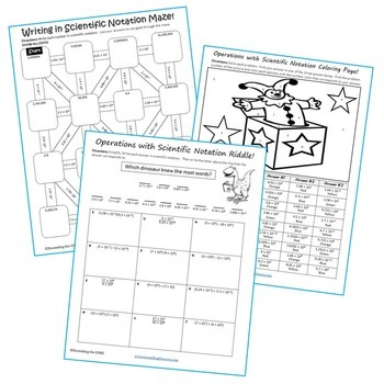 SCIENTIFIC NOTATION Maze, Riddle, & Color by Number (Fun MATH Activities)