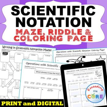 SCIENTIFIC NOTATION Maze, Riddle, & Coloring Page (Fun MAT