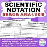 SCIENTIFIC NOTATION Word Problems -  Error Analysis  (Find the Error)