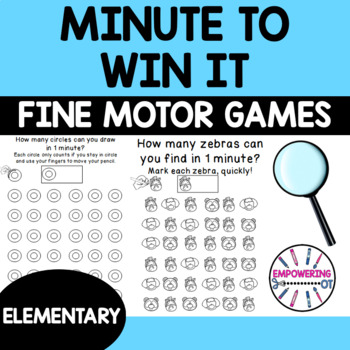 MINUTE TO WIN IT! Fine motor, visual motor, visual perceptual games!