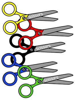 SCISSORS CLIP ART * COLOR AND BLACK AND WHITE