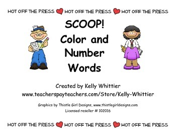 SCOOP! Color and Number Words Reading Card Game