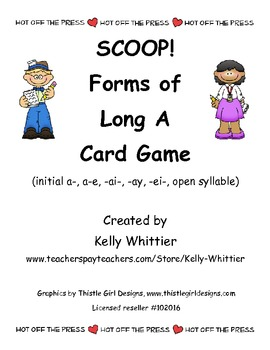 SCOOP!  Forms of Long A Reading Card Game