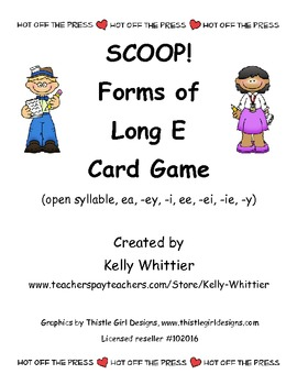 SCOOP!  Forms of Long E Reading Card Game