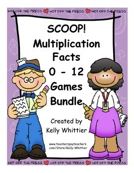 SCOOP! Multiplication Facts Practice 0 - 12 Money Saving Bundle of Two Games!