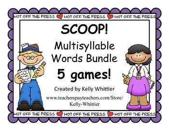SCOOP! Multisyllable Word Card Games - 5 in this money sav