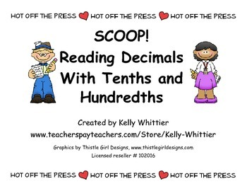 SCOOP! Place Value Card Game Reading Decimals to Tenths and Hundredths