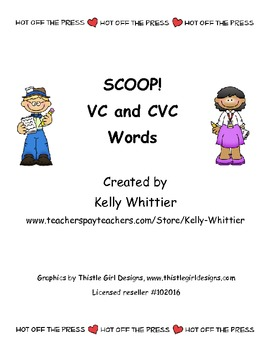 SCOOP! VC and CVC (short vowel) Words Card Game