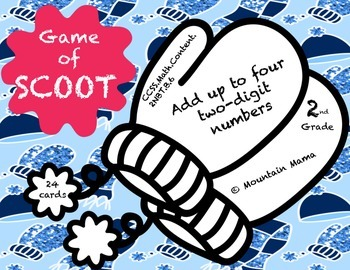 Math Addition Game Task Cards for Scoot or Centers 2NBT.B.6 Winter Theme
