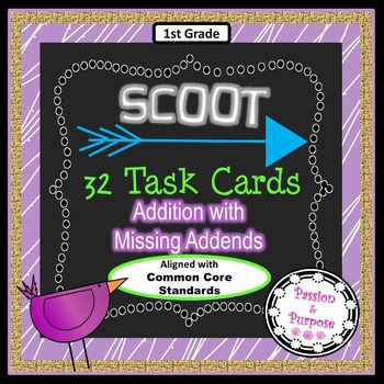 SCOOT 32 Task Cards - Addition with Missing Addends - Mystery Number