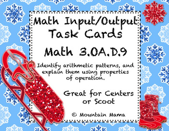 Math Input Output Table Task Cards for Scoot or Centers 3.