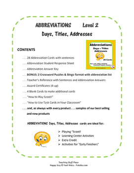 Abbreviations  Gr 3-4-5 CORE  Days,Titles, Addresses Task Cards| Early Finishers