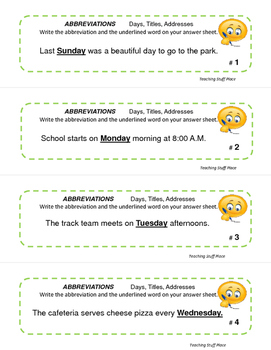 Abbreviations  Gr 3-4-5 CORE  Days,Titles, Addresses Task Cards  Early Finishers