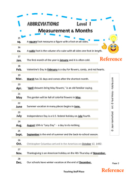 ABBREVIATIONS | Measurement and Months |TASK CARDS | Reference List | Gr 3-4