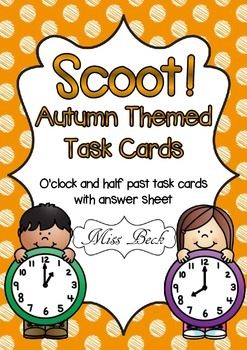 SCOOT! Autumn Themed O'clock and Half Past Time Task Cards