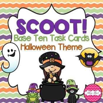 SCOOT! Base Ten Blocks Task Cards Halloween Theme