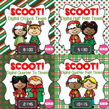 SCOOT! Digital Time Task Cards Christmas Theme BUNDLE