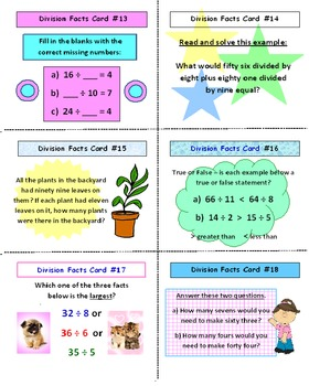 SCOOT Division Facts Game (Cards, Grid, Lesson Plan Included)