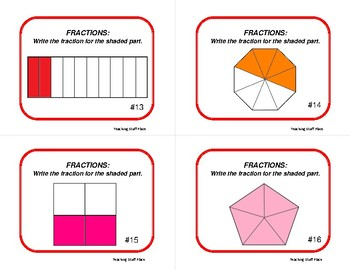 FRACTIONS | TASK CARDS | SCOOT Fractional Parts | Geometric Shapes | MATH Gr 3