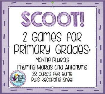 SCOOT!  Plurals, Rhymes, Antonyms
