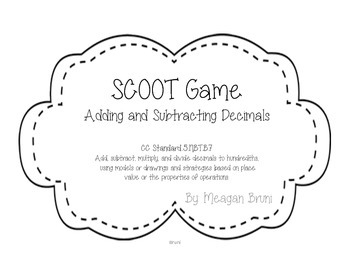 B&W  SCOOT Game - 5.NBT.5.7  Adding and Subtracting Decimals