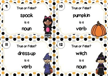 SCOOT! Halloween Themed Noun or Verb Task Cards