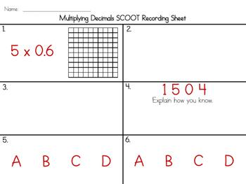 SCOOT - Multiplying Decimals (common core aligned)