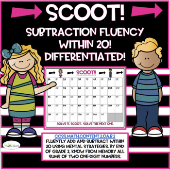 SCOOT! Second Grade Subtraction Fluency within 20! Aligned! Differentiated!