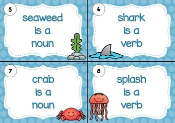 SCOOT! Under The Sea Themed Noun Or Verb Task Cards