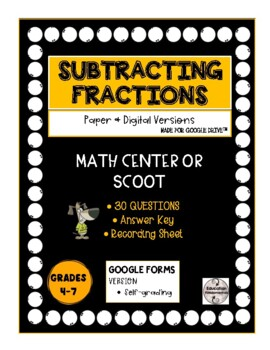 SCOOT or Center - Subtracting Fractions