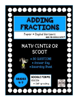 SCOOT or QR Code Centre - Adding Fractions with Unlike Den