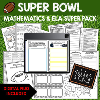 SUPER BOWL Math, ELA, Geography, Science {40 Printables}★ Score!★