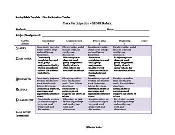 SCORE Rubric - Class Participation