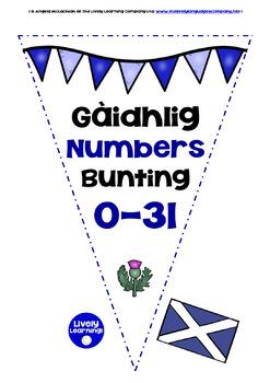 SCOTTISH GAELIC NUMBERS 0-31 - BUNTING / BANNERS
