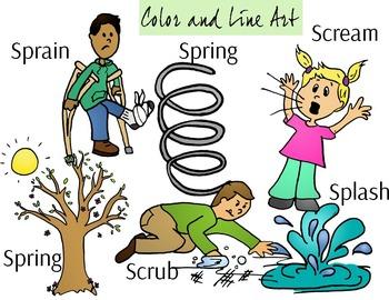 SCR, SPR, SPL Blend Phonics Clip Art Set - Color and Line Art 12 pc set