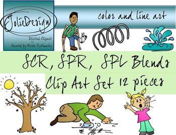 SCR, SPR, SPL Blend Phonics Clip Art Set - Color and Line
