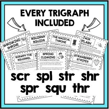 Trigraph Stories - Reading Comprehension Passages - scr, spl, str, shr, squ, thr
