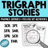 Trigraph Stories - Reading Comprehension Passages scr spl str shr spr squ thr
