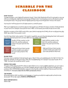 SCRABBLE for the classroom! FULL VERSION