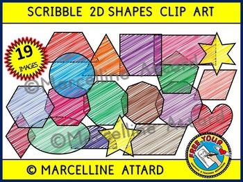 SCRIBBLE 2D SHAPES CLIPART: GEOMETRIC SHAPES CLIPART: FLAT SHAPES CLIPART