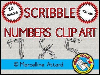 FREE CLIPART: SCRIBBLE NUMBERS CLIPART:  NUMBERS 0 TO 9: MATH CLIPART