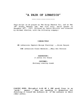 SCRIPT: W.R.Walkes' A PAIR OF LUNATICS adapted & revised by Michael Blevins