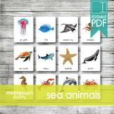 SEA ANIMALS • Montessori Cards • Flash Cards • Three Part Cards