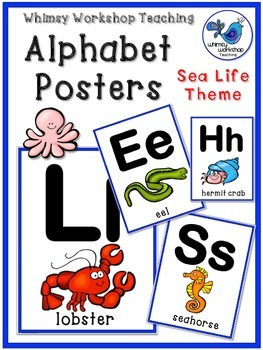SEA LIFE Alphabet Posters Room Decor (Whimsy Workshop Teaching)