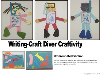 SEA LIFE-SCUBA DIVER ART- CRAFT TEMPLATE- A WRITING-DRAWING CRAFTIVITY