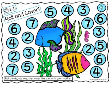 SEA LIFE Math: Addition and Subtraction - Roll & Cover - Graphing - Sequencing