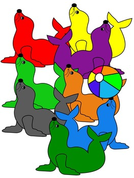SEAL CLIP ART * COLOR AND BLACK AND WHITE