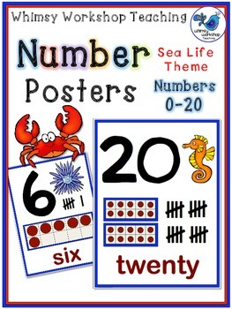 SEALIFE Numbers to 20 Posters Room Decor (Whimsy Workshop