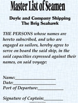 SEAMAN'S CONTRACT: Charlotte Doyle & your students sign this literature handout